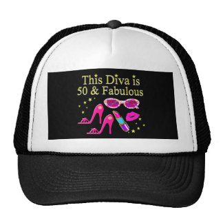 PINK THIS DIVA IS 50 & FABULOUS DESIGN CAP