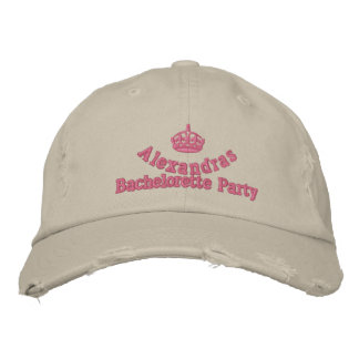Pink tiara bachelorette party embroidered hat