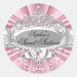 Pink Tiara & Damask Sweet Sixteen Sticker