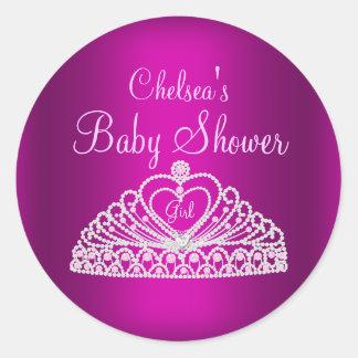 Pink Tiara Girl Baby Shower Sticker