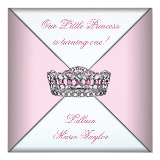 Pink Tiara Little Princess First Birthday Party Invite