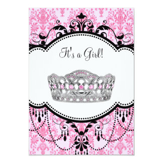 Pink Tiara Pink Black Damask Baby Shower Card