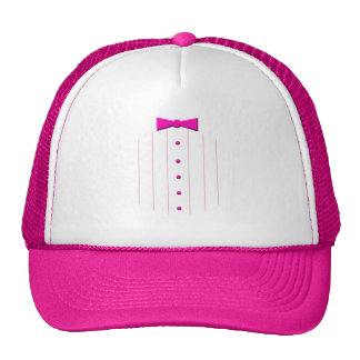 Pink tie tuxedo trucker hats