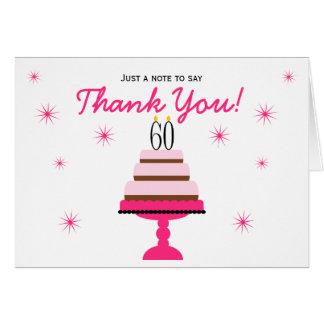 Pink Tiered Cake 60th Birthday Thank You Note Card