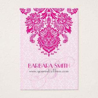 Pink Tint Damasks Hot Pink Floral Ornament Business Card