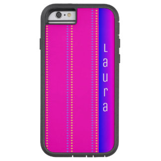 Pink to Blue Rainbow Diamond Pattern with Name Tough Xtreme iPhone 6 Case