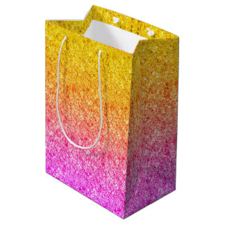 Pink To Yellow Gradient Glitter Texture Medium Gift Bag