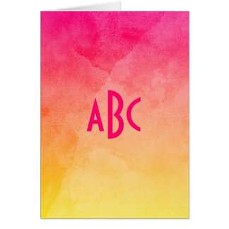 Pink to Yellow Watercolor Ombre Monogram Card