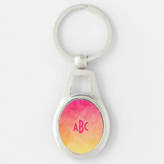 Pink to Yellow Watercolor Ombre Monogram Silver-Colored Oval Key Ring