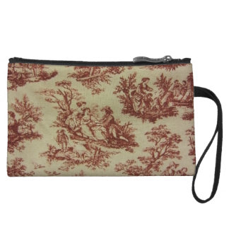 Pink Toile Wristlet Clutches