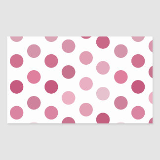 Pink Tone Polka Dots Rectangle Stickers