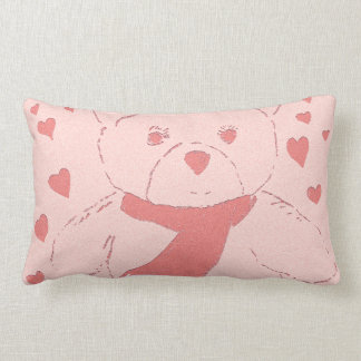 Pink Toned Teddy Bear Throw Pillow