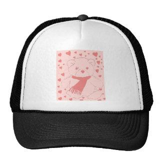 pink toned teddy bear trucker hat