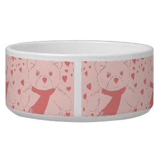 Pink Toned Teddy Bear Pet Water Bowl
