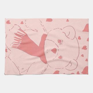 Pink Toned Teddy Bear Tea Towel