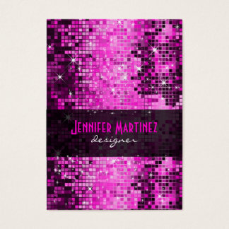 Pink Tones Retro Disco Faux Glitter Business Card