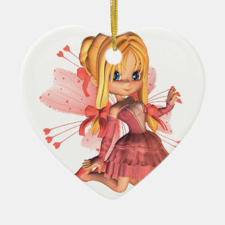 Pink Toon Valentine Fairy - 2 Ceramic Heart Decoration