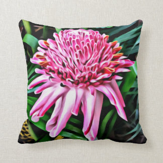 Pink Torch Ginger Throw Cushion