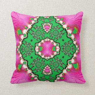 Pink Tourmaline Green Lace American MoJo Pillow