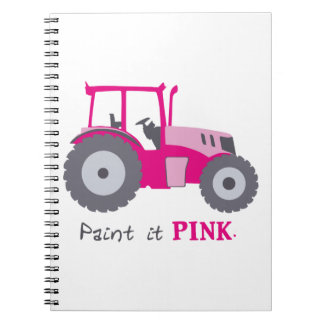 Pink tractor illustration paint it pink! notebooks