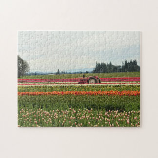 Pink Tractor in Tulip Field Jigsaw Puzzle