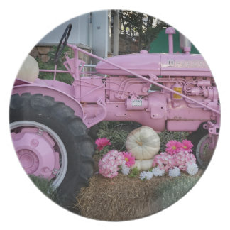 Pink Tractor Party Plates