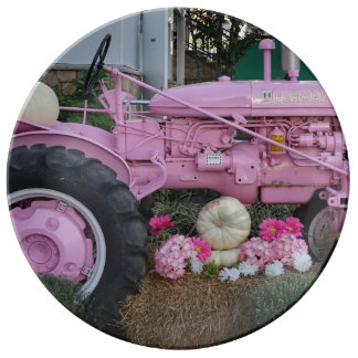 Pink Tractor Porcelain Plate
