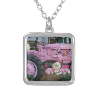 Pink Tractor Silver Plated Necklace