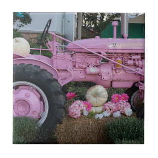 Pink Tractor Small Square Tile