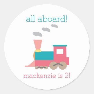 Pink Train Birthday Party Sticker