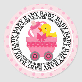Pink Train Car and Toys Baby Shower Round Sticker