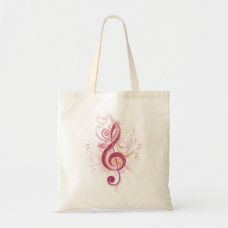 Pink Treble Clef Budget Tote Bag
