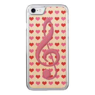 Pink Treble Clef Love Hearts Music Carved iPhone 8/7 Case