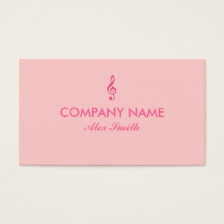 Pink treble clef music custom business cards