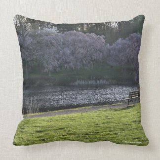 Pink Tree Flowers Bench Seat at Pond 20x20 Cushion