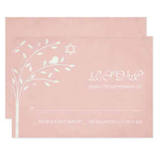 Pink Tree of Life with Star of David RSVP Card