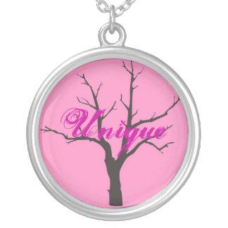 Pink Tree Round Pendant Necklace