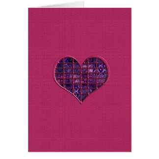 Pink trendy girly heart with purple material greeting card