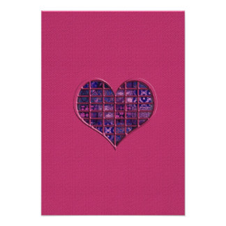 Pink trendy girly heart with purple material personalized invites