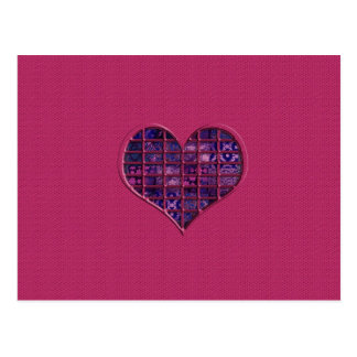 Pink trendy girly heart with purple material postcard