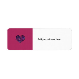 Pink trendy girly heart with purple material return address label