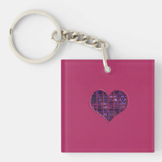 Pink trendy girly heart with purple material Single-Sided square acrylic key ring