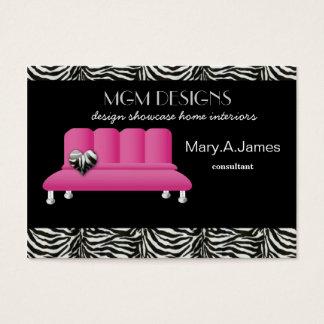 pink trendy interior decorator Business Cards