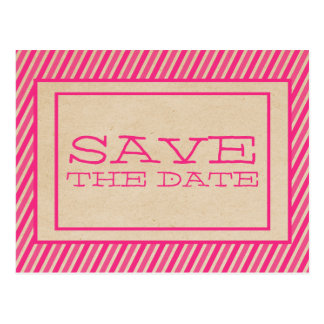 Pink Trendy Stripes Save the Date Postcard
