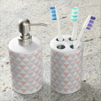 Pink Triangle Geometric Bathroom Set