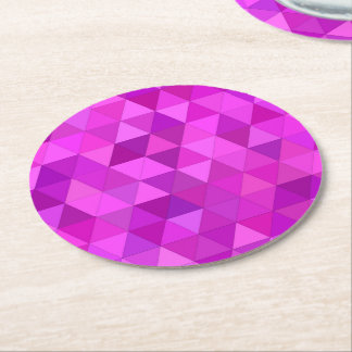 Pink triangles round paper coaster