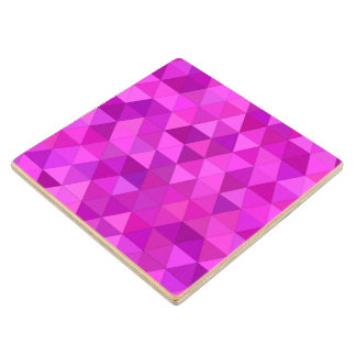 Pink triangles wood coaster