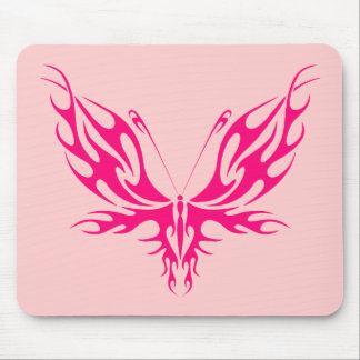 PINK TRIBAL BUTTERFLY MOUSE PAD
