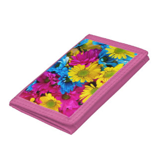 Pink TriFold Nylon Wallet with flowers motive