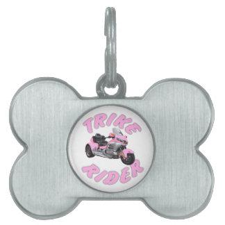 Pink Trike Rider Pet Name Tags